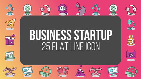 Business startup 25 flat line icons After Effects Template