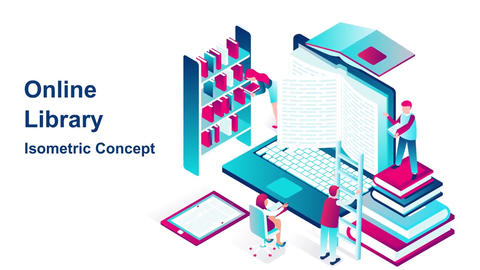 Online library isometric concept After Effects Template