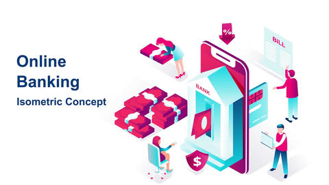 Online banking isometric concept After Effects Template