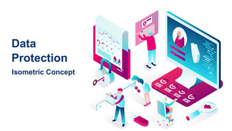 Data protection isometric concept After Effects Template