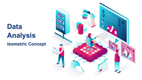 Data analysis isometric concept After Effects Template