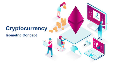 Cryptocurrency isometric concept After Effects Template