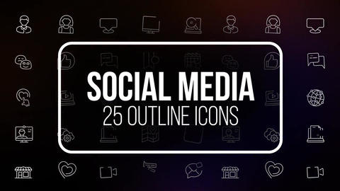 Social media 25 outline icons After Effects Template