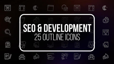 Seo and development 25 outline icons After Effects Template