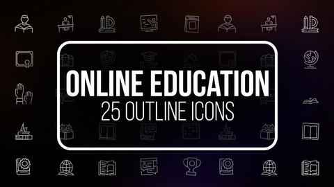 Online education 25 outline icons After Effects Template