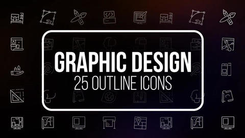 Graphic design 25 outline icons After Effects Template