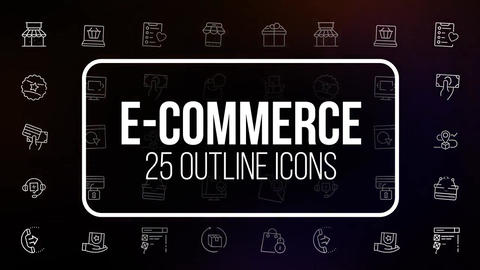 E-commerce 25 outline icons After Effects Template