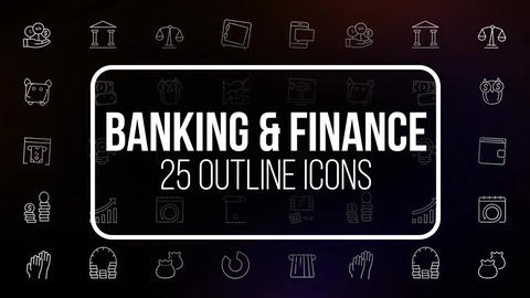 Banking and finance 25 outline icons After Effects Template