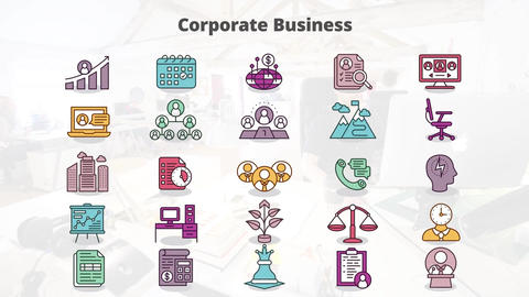 Corporate business mogrt icons Motion Graphics Template