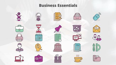 Business essentials mogrt icons モーショングラフィックステンプレート