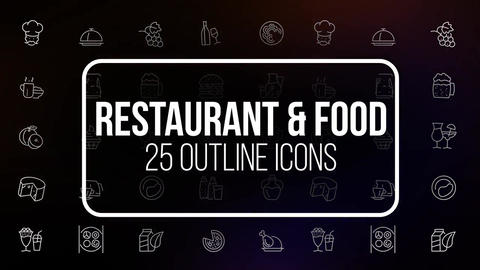 Restaurant and food 25 animated icons Motion Graphics Template