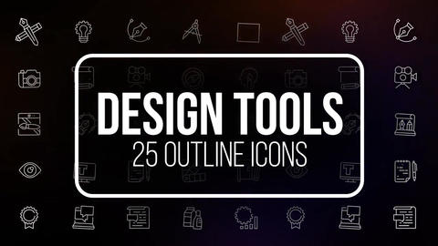 Design tools 25 outline animated icons Motion Graphics Template
