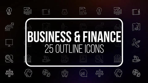 Business and finance 25 line icons Motion Graphics Template