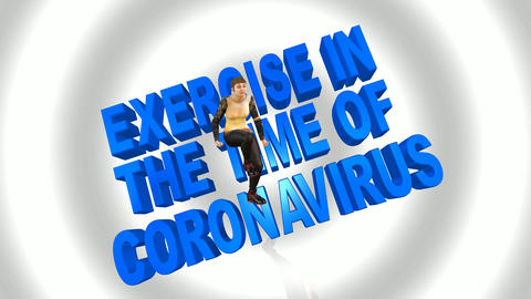 660 4k 3d aniamted footage with avatar and text exercise in the time of coronavirus Animation