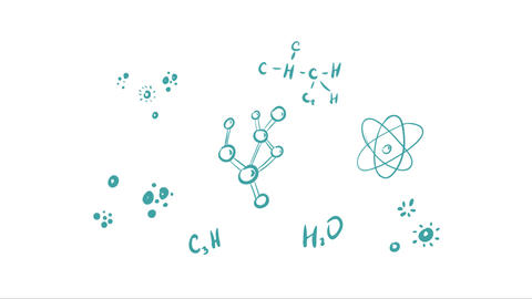 Chemical reaction on white back Animation
