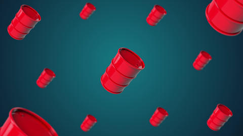 3d animation: red barrels with oil products rotate around their axis making a 360-degree turn Animation