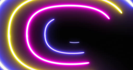 Looped Futuristic Oval Neon Background Live Action