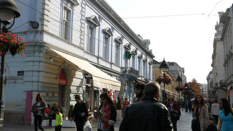 Shops and People on Shopping Road in Belgrade City Center Downtown Live Action