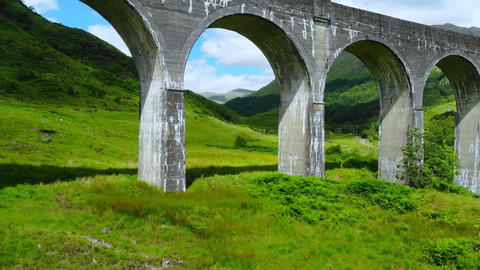 The Scottish Highlands - the famous Glenfinnan viaduct Live Action