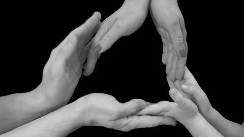 Men's, women's and children's hands black white Live Action