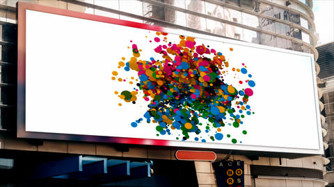 billboard on the street, on the building, multi-colored flying circles Live Action