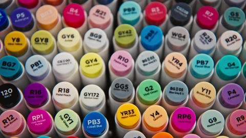 Set of colourful and bright professional markers Live Action