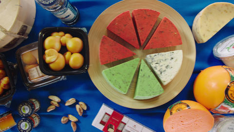 flat lay composition with numerous delicatessen cheese ライブ動画
