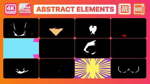 Abstract elements and Titles Apple Motion Template