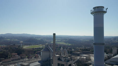Aerial View Industrial Plant Stack Live Action