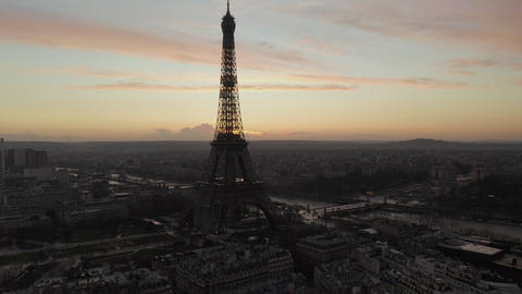 AERIAL: Over Paris, France wet, reflections from Rain with view on Eiffel Tower Live Action