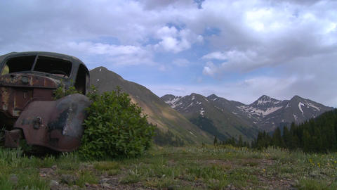 Beautiful time lapse traveling shot across Rocky M Stock Video Footage