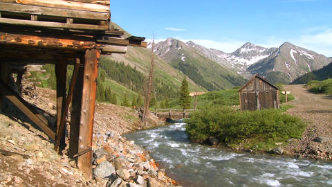 Colorado ghost town with river flowing Stock Video Footage