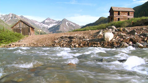 Colorado ghost town with river flowing foreground Stock Video Footage