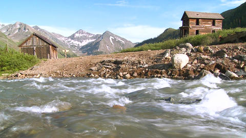 Colorado ghost town with river flowing foreground Footage