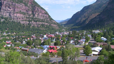 A downtown establishing shot of Ouray, Colorado wi Footage