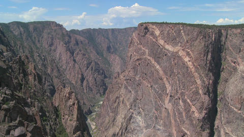 A cliff face in the black canyon of the Gunisson Stock Video Footage