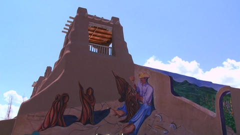 A New Mexico adobe building with Southwest paintin Stock Video Footage