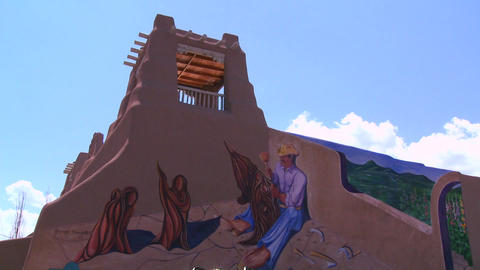 A New Mexico adobe building with Southwest paintin Footage