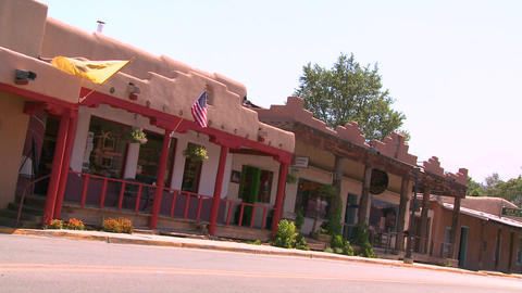 Street scene in Taos, New Mexico Stock Video Footage