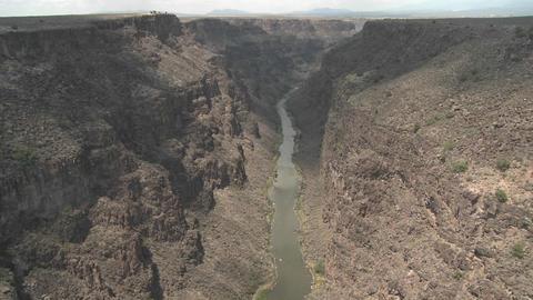 The Rio Grande River snakes through a New Mexico c Stock Video Footage