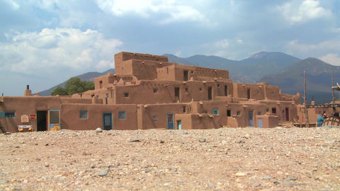 Establishing shot of the Taos pueblo, New Mexico Footage