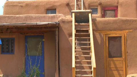 Establishing shot of the Taos pueblo, New Mexico Stock Video Footage