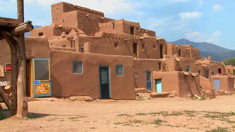 Establishing shot of the Taos pueblo, New Mexico Stock Video Footage