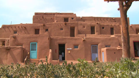 Native Americans at the Taos pueblo, New Mexico Stock Video Footage