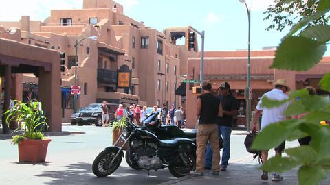 Establishing shot of downtown Santa Fe, New Mexico Footage