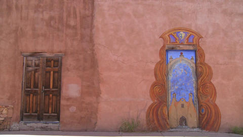 Beautiful painted adobe doors in Santa Fe, New Mex Stock Video Footage