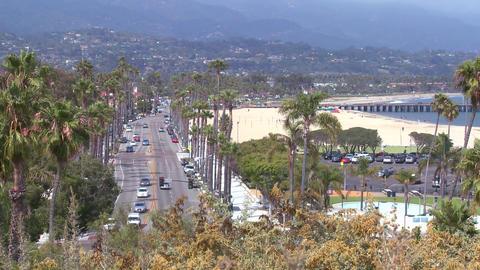 A summer day along the beach in Santa Barbara, Cal Footage
