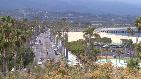 A summer day along the beach in Santa Barbara, Cal Stock Video Footage