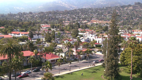 A high angle view over Santa Barbara, California Footage