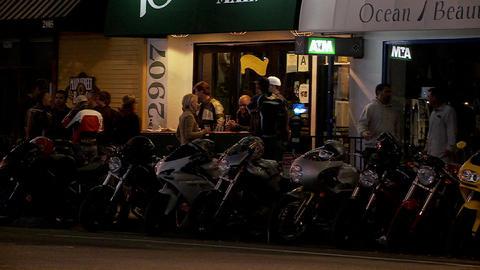 A biker bar in Los Angeles Stock Video Footage